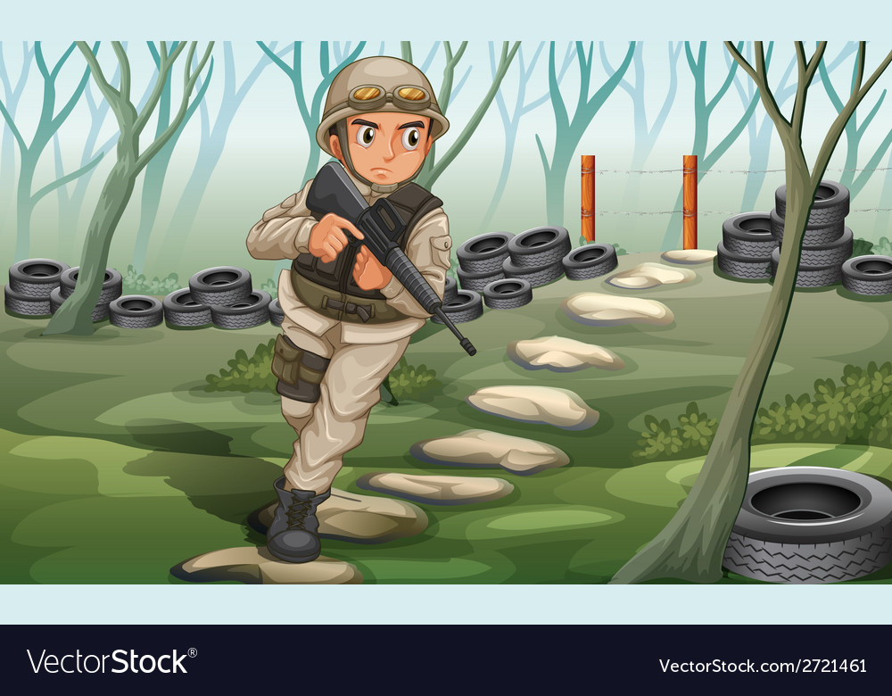 A soldier in the battlefield vector | Price: 1 Credit (USD $1)