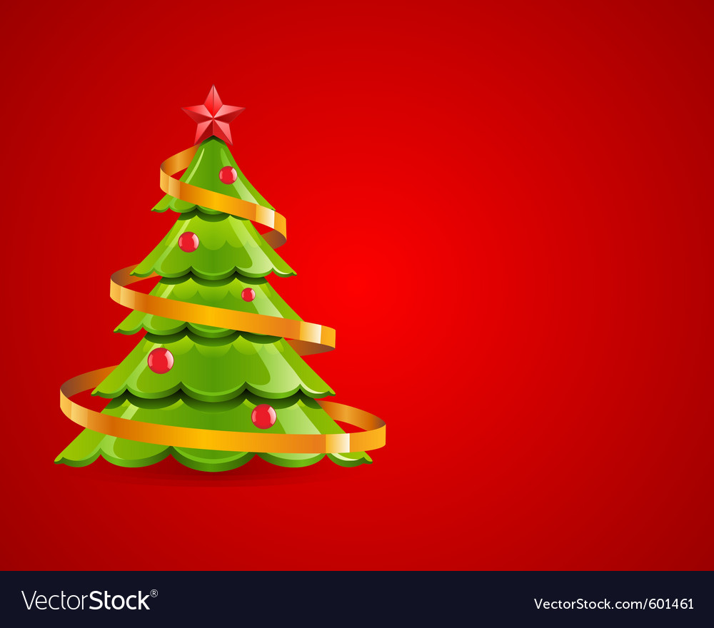 Christmas glossy tree with red star vector | Price: 1 Credit (USD $1)