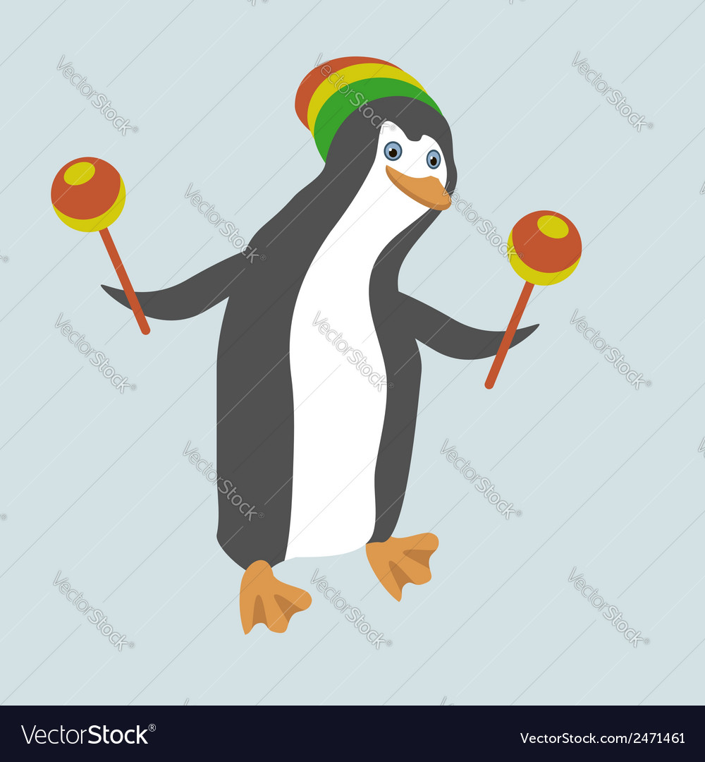 Funny dancing penguin with maracas vector   Price: 1 Credit (USD $1)