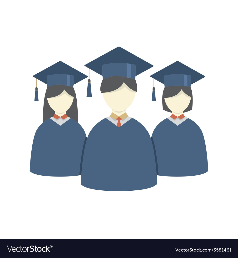 Group of students in graduation gown and vector | Price: 1 Credit (USD $1)