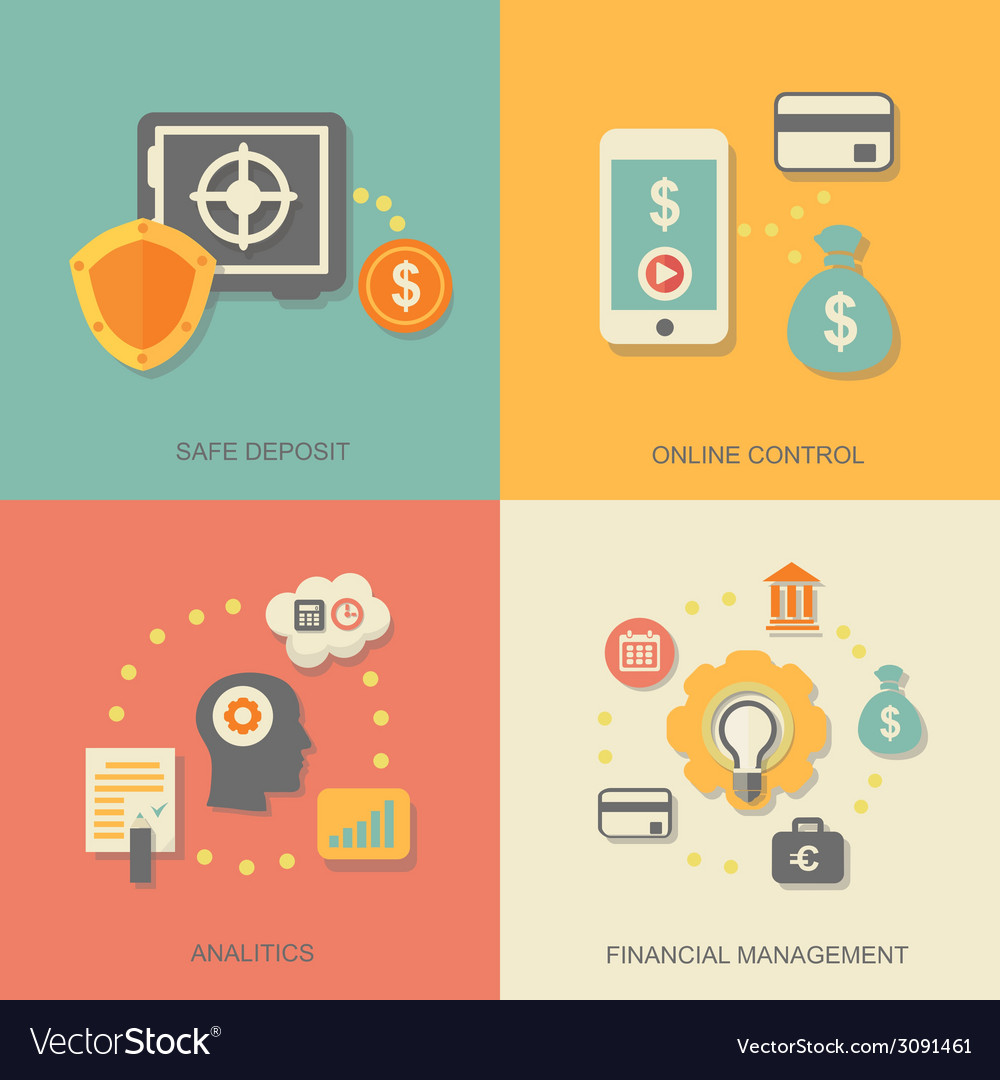 Icons of financial analytics online banking and vector | Price: 1 Credit (USD $1)