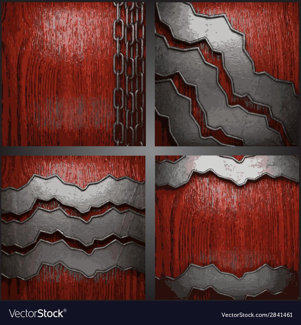 Metal on wood background set vector | Price: 1 Credit (USD $1)