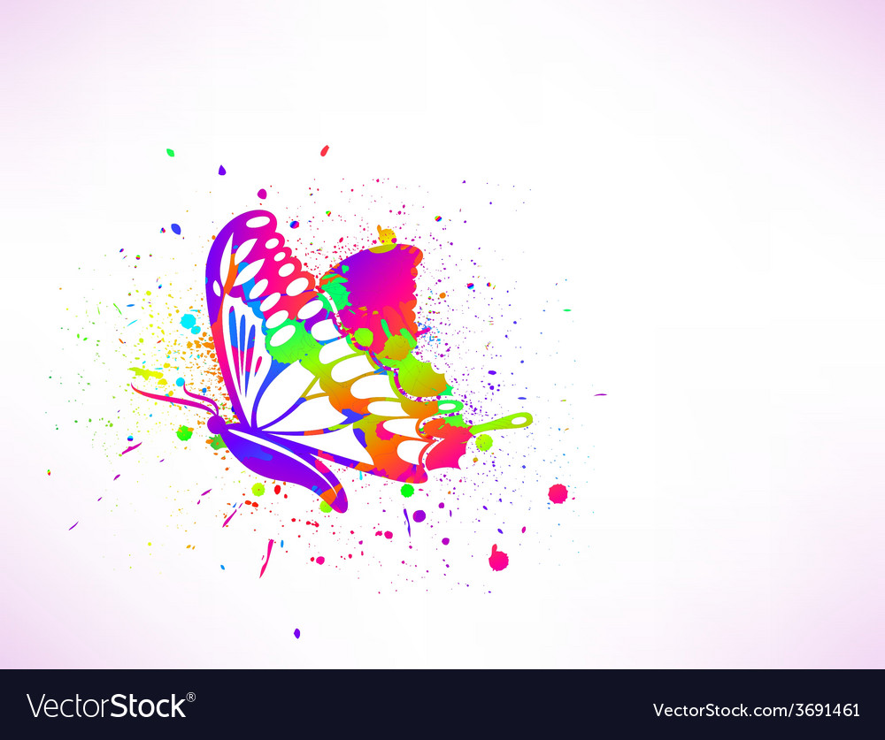 Rainbow ink butterfly on white background vector | Price: 1 Credit (USD $1)