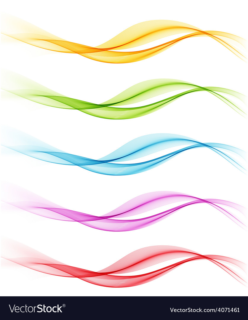 Set of color abstract smoky waves vector