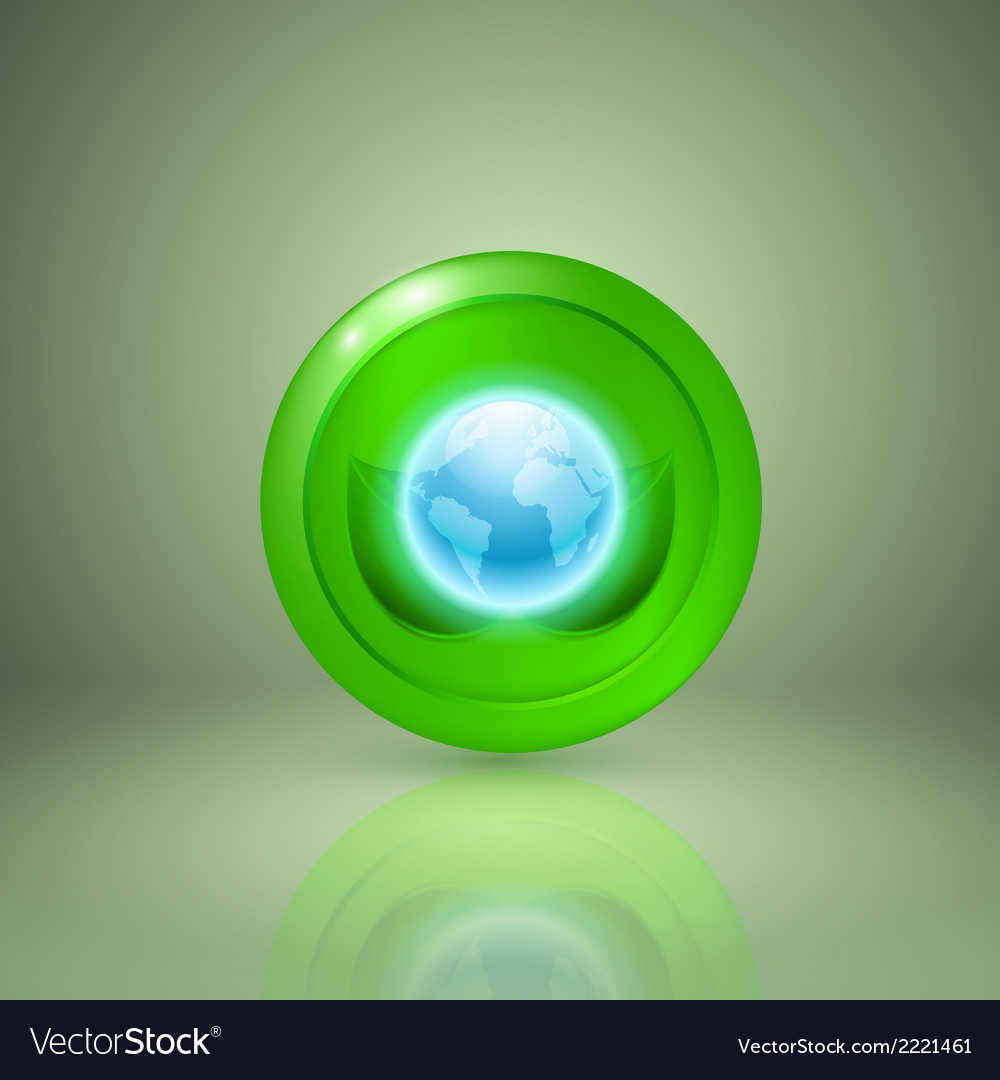 Two green leaves with the globe vector | Price: 1 Credit (USD $1)