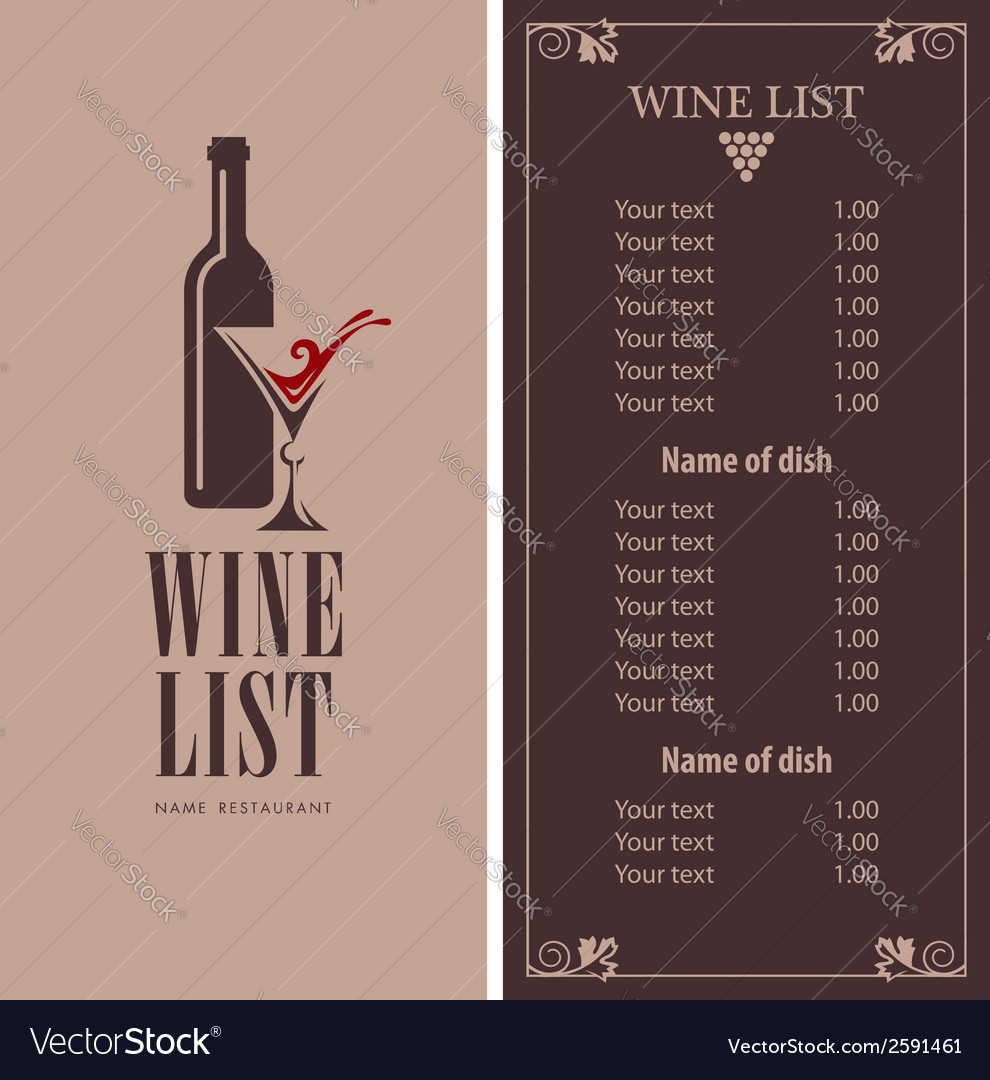 Wine menu vector | Price: 1 Credit (USD $1)