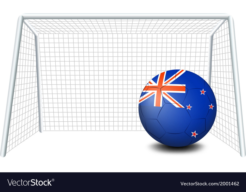A ball near the net with the flag of new zealand vector | Price: 1 Credit (USD $1)
