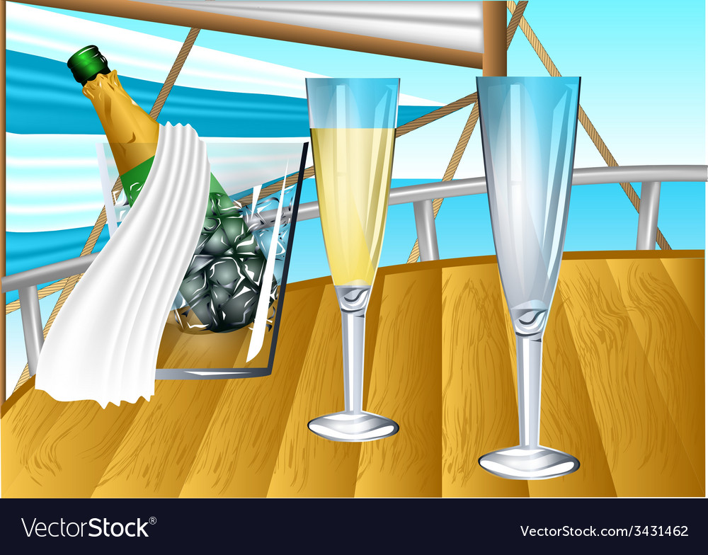 Champagne on sail boat vector | Price: 1 Credit (USD $1)