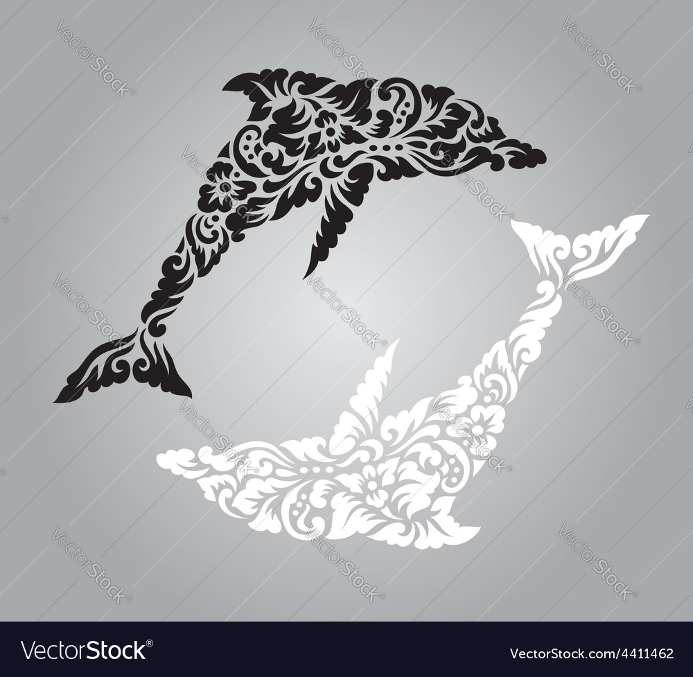 Dolphin floral ornament decoration vector | Price: 1 Credit (USD $1)