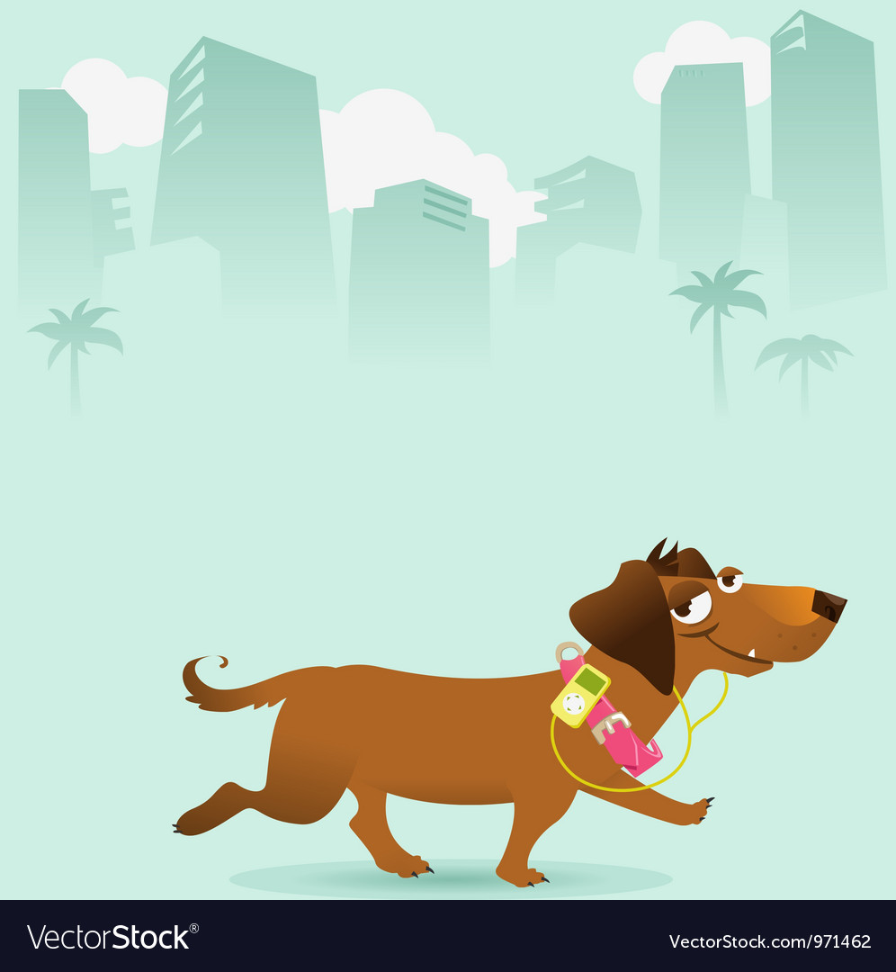 Happy dog walking in the city vector | Price: 3 Credit (USD $3)