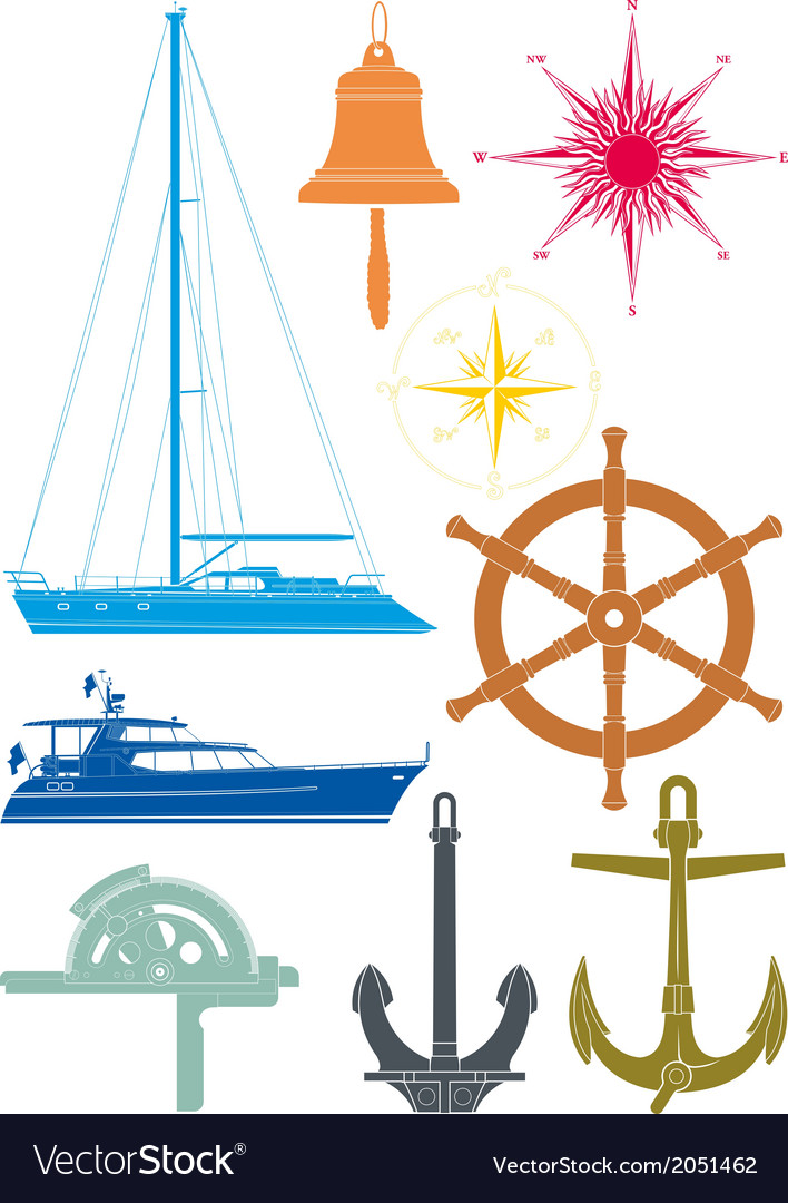 Marine and yachting symbols vector | Price: 1 Credit (USD $1)