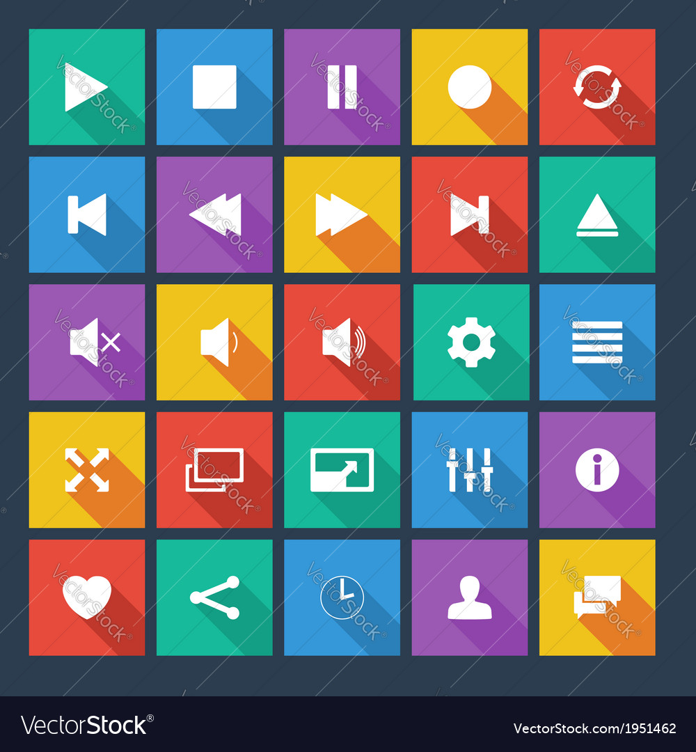 Media player flat icons with long shadow vector | Price: 1 Credit (USD $1)