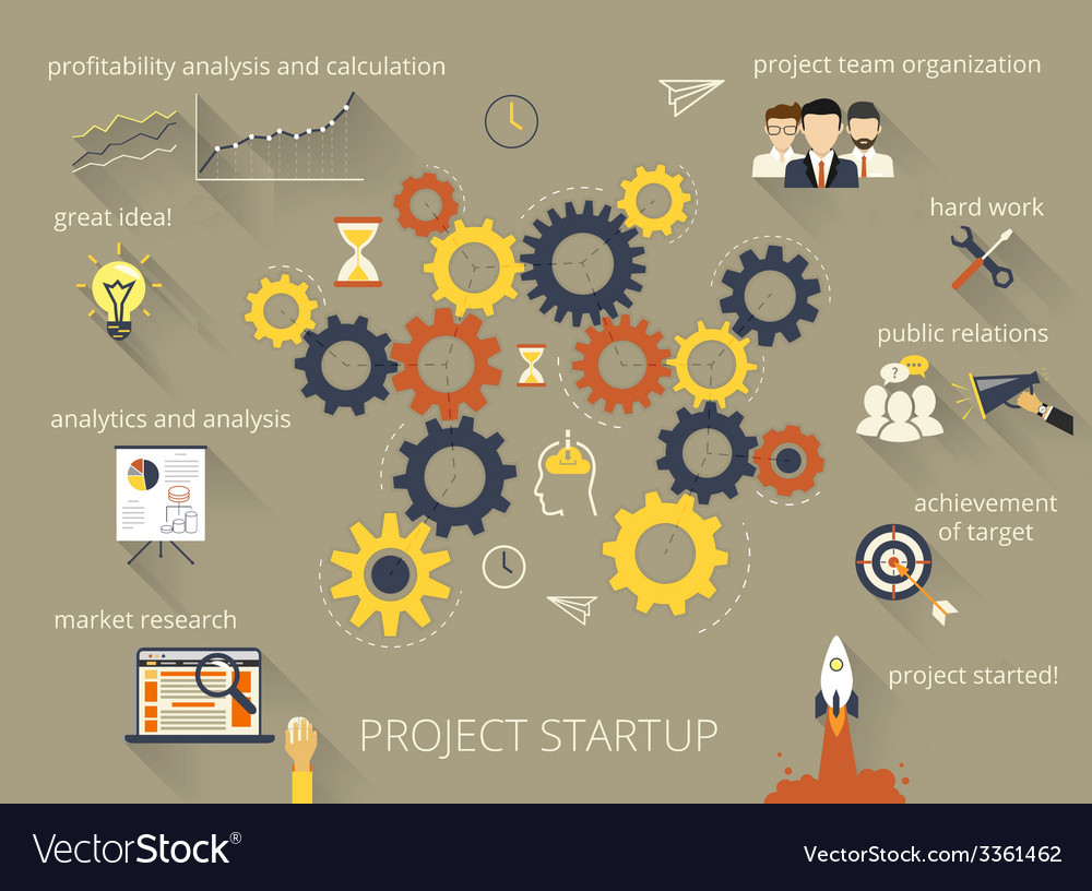 Project startup process vector | Price: 1 Credit (USD $1)