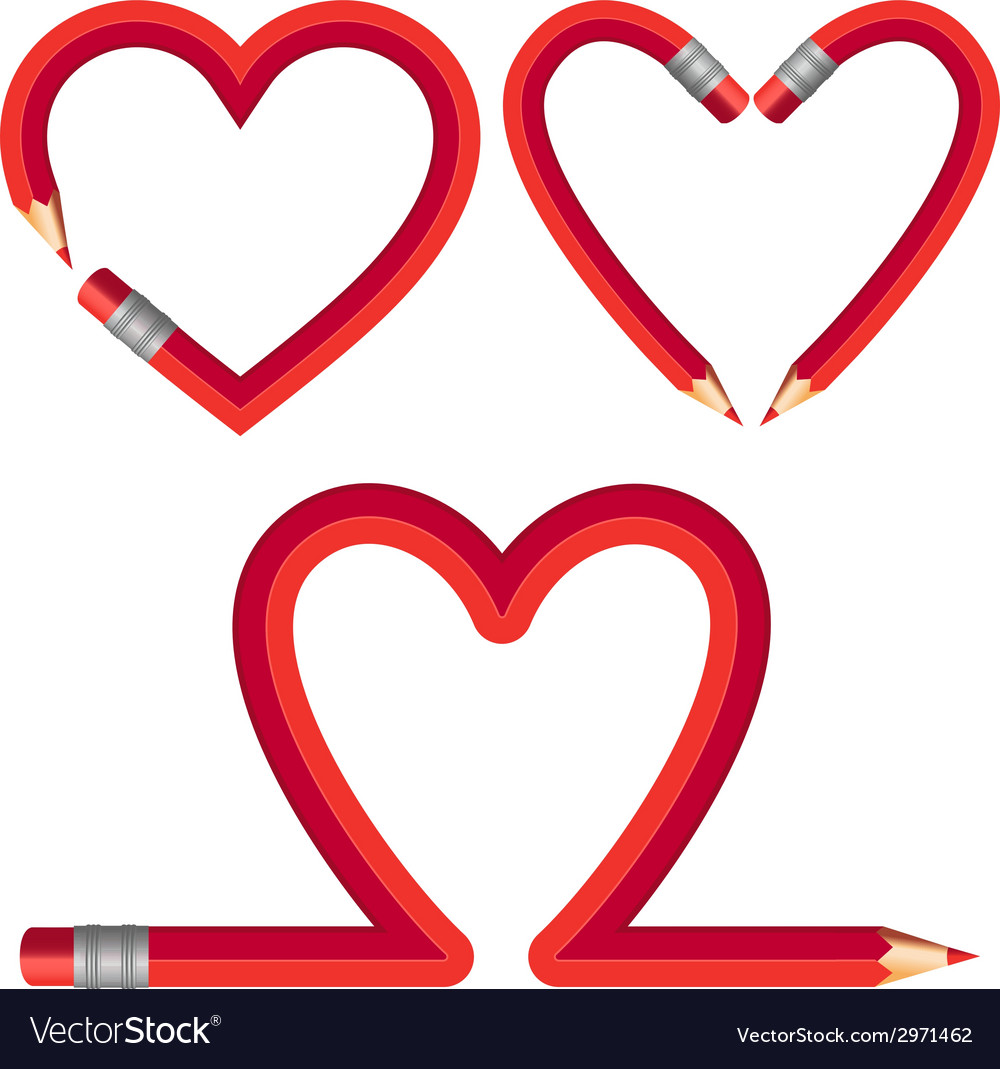 Red pencil hearts set vector | Price: 1 Credit (USD $1)
