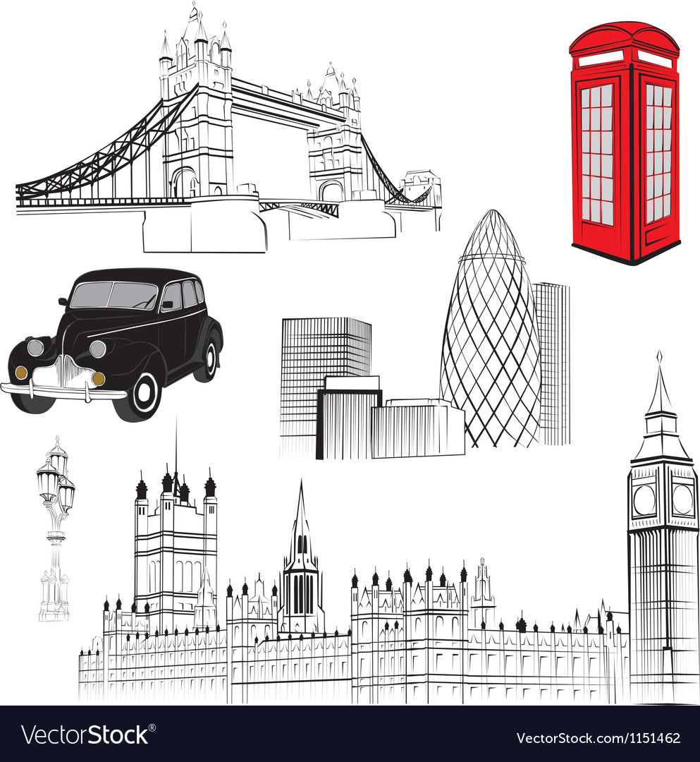 Set of elements representing england vector | Price: 1 Credit (USD $1)