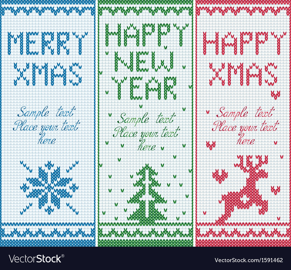 Set of knitted banners with copy space vector | Price: 1 Credit (USD $1)