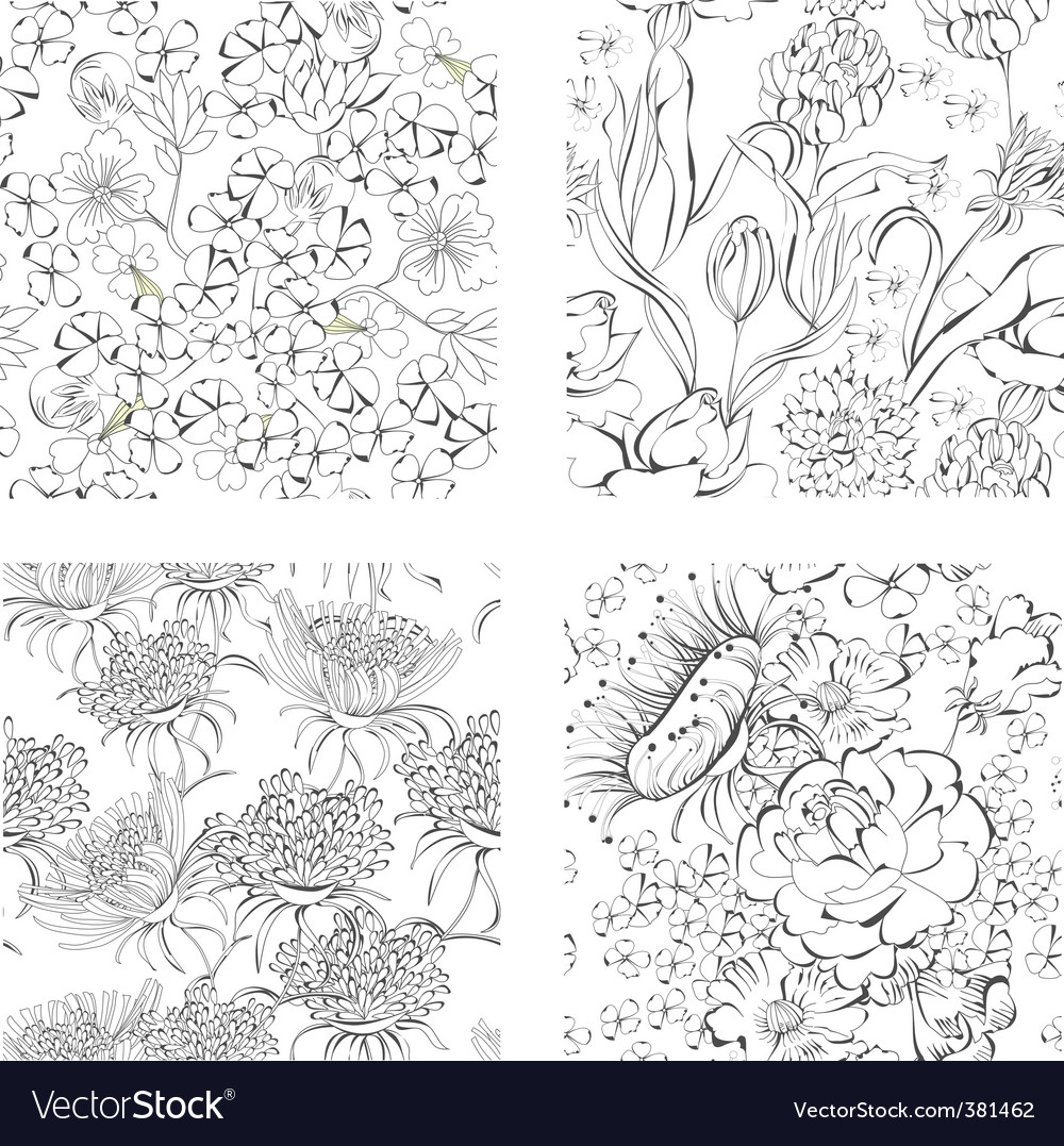 Set of seamless wallpaper vector | Price: 1 Credit (USD $1)