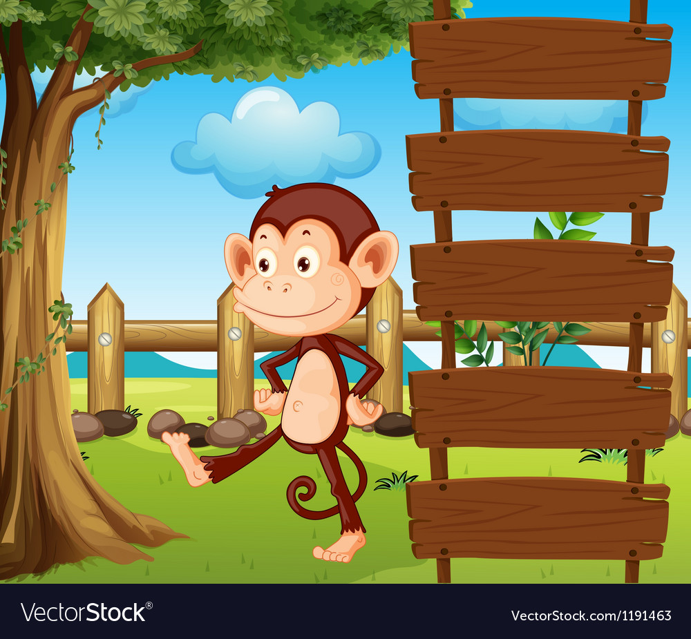 A monkey beside a wooden signage vector | Price: 1 Credit (USD $1)