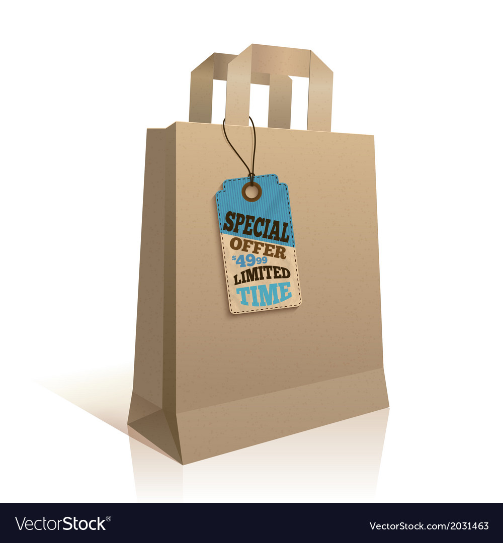 Big carry paper shopping bag vector | Price: 1 Credit (USD $1)