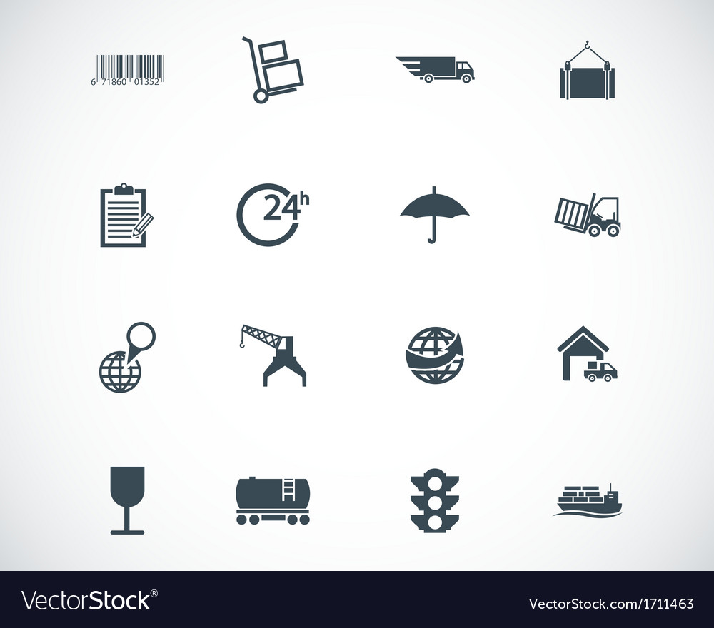 Black logistic icons set vector | Price: 1 Credit (USD $1)