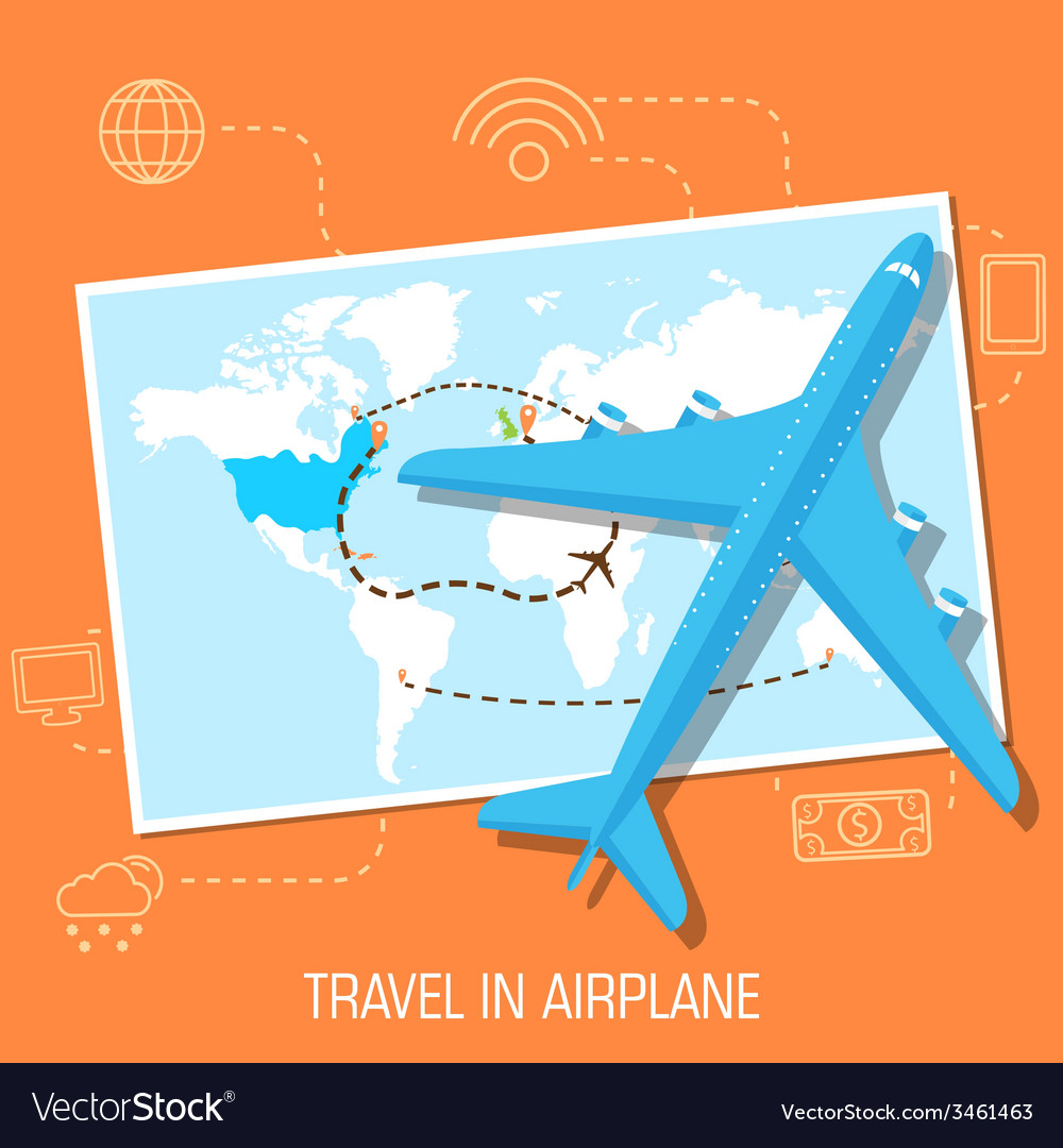 Flat travel with airplane design concept vector | Price: 1 Credit (USD $1)