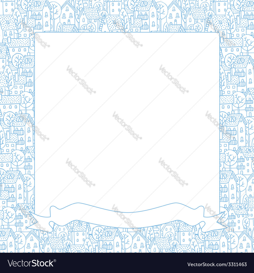 Frame with city pattern vector | Price: 1 Credit (USD $1)