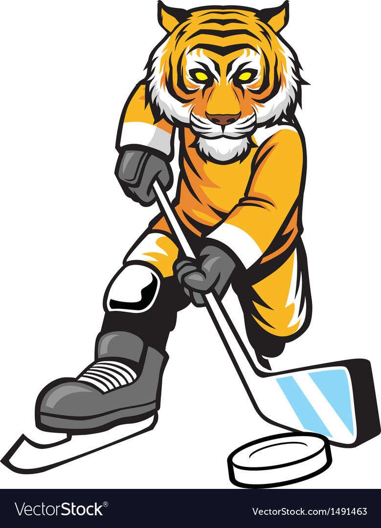 Tiger playing ice hockey vector | Price: 1 Credit (USD $1)