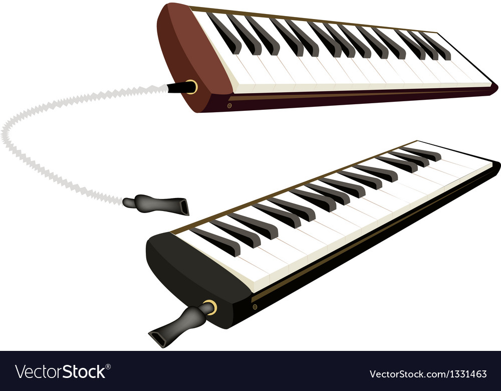Two musical melodica isolated on white background vector | Price: 1 Credit (USD $1)