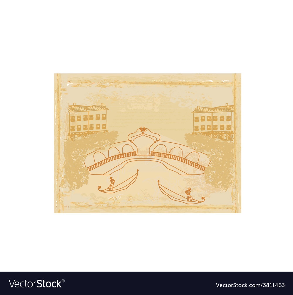 Venetian gondola retro style card vector | Price: 1 Credit (USD $1)