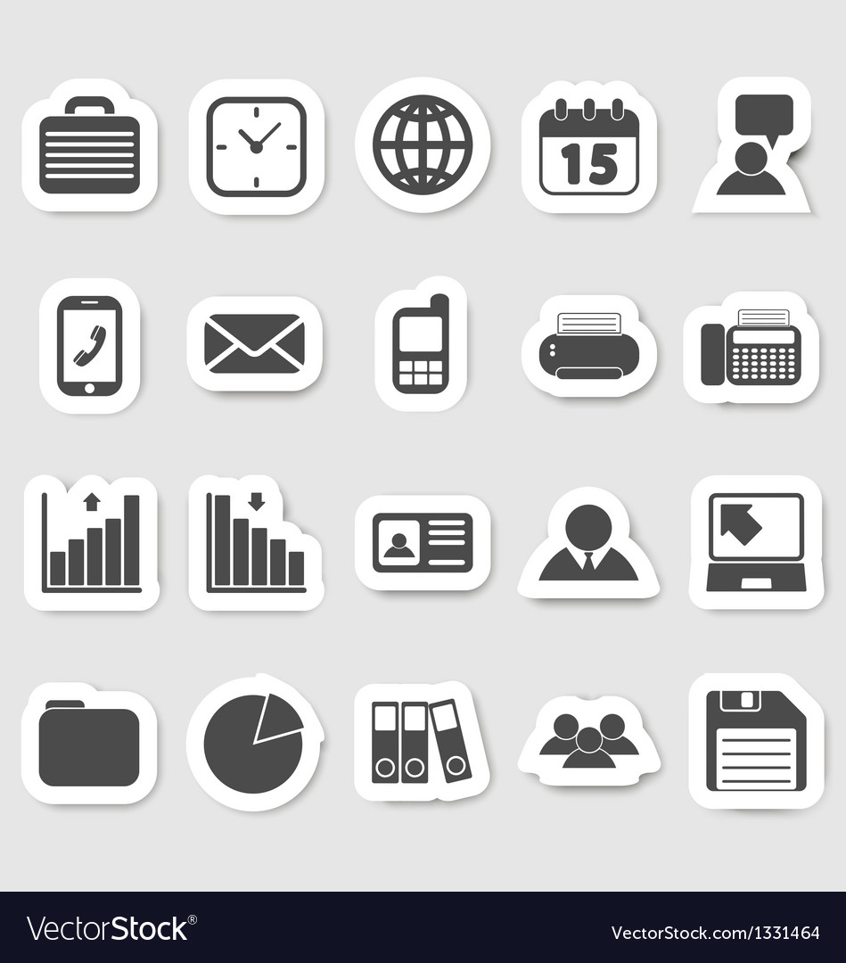 Business and office icons stikers vector | Price: 1 Credit (USD $1)