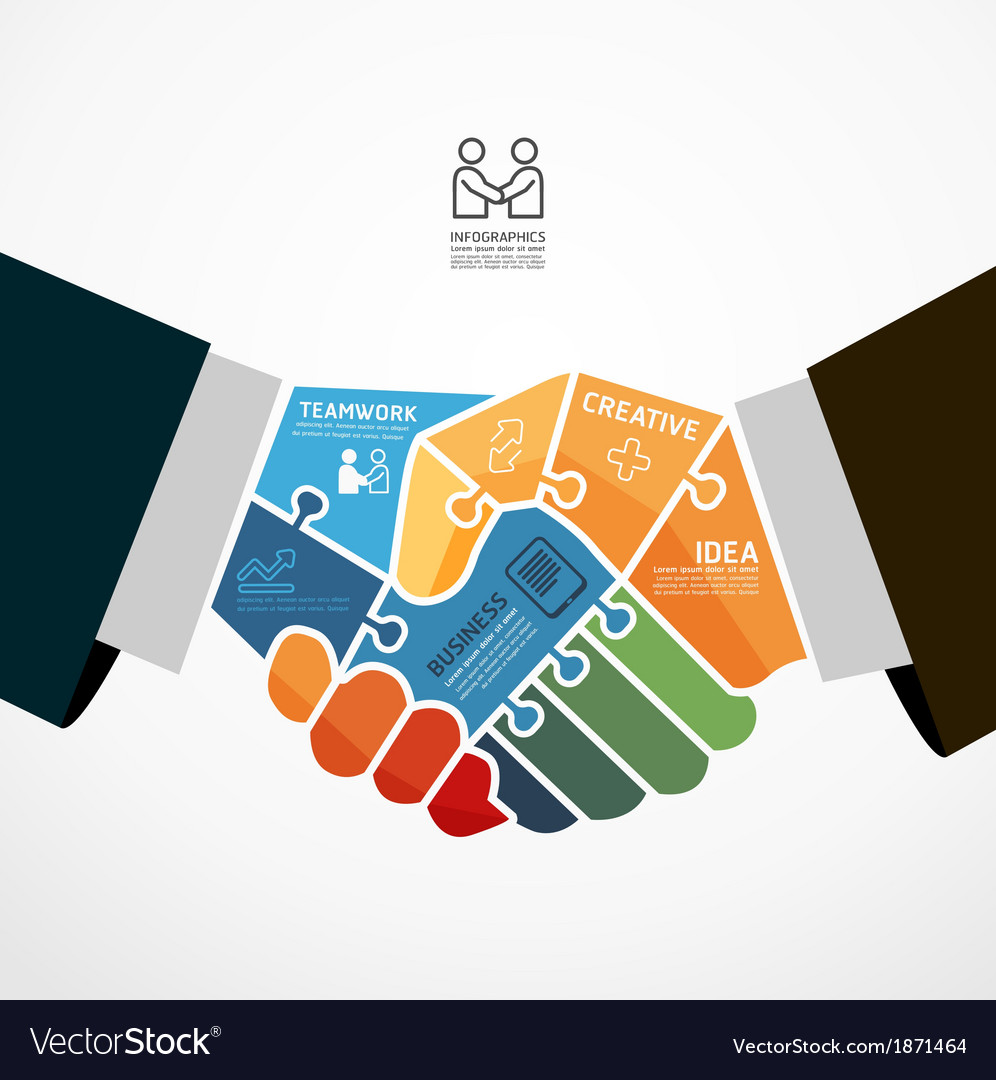 Businessman handshake jigsaw infographic template vector | Price: 1 Credit (USD $1)