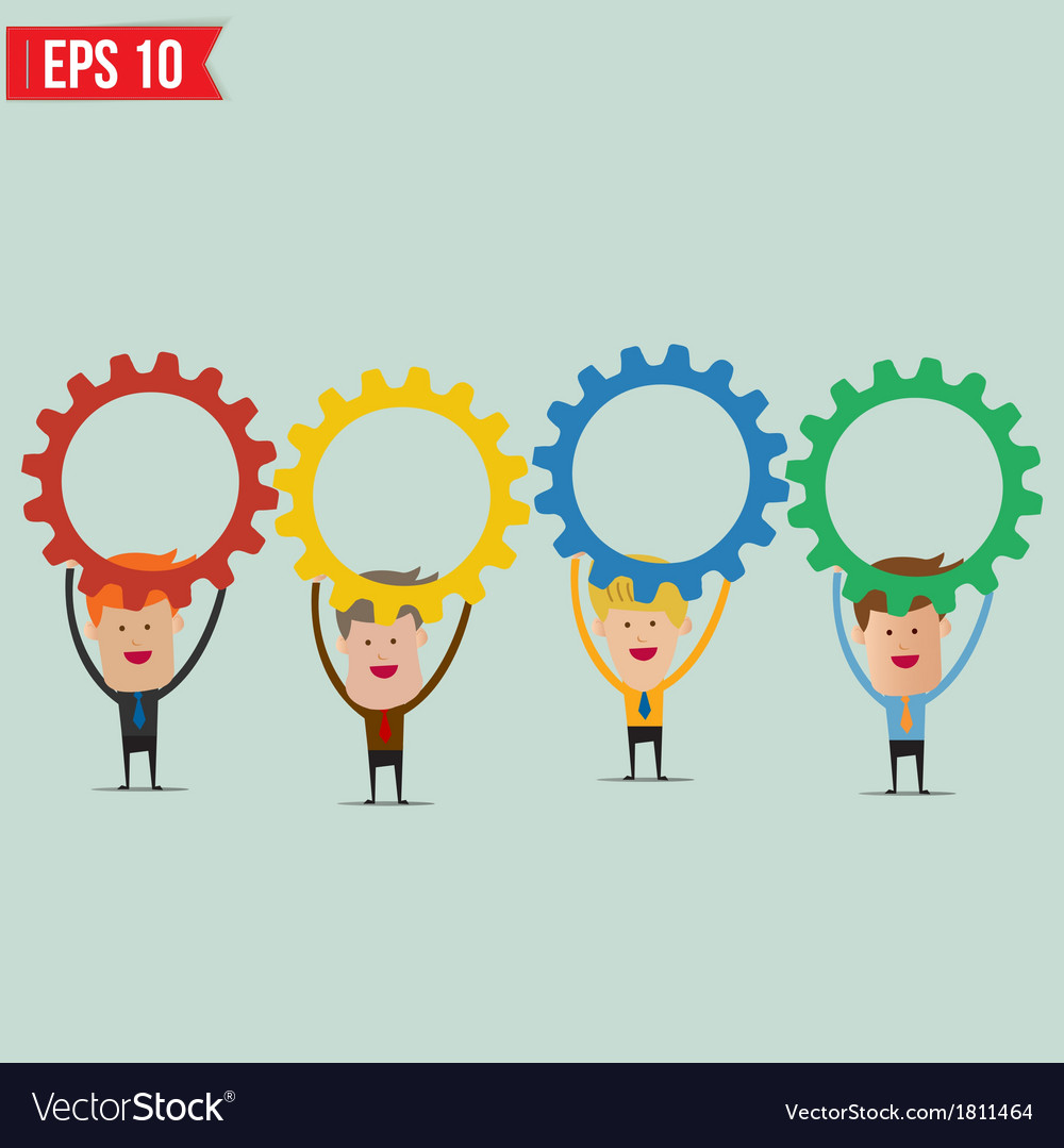 Businessman with gears - - eps10 vector | Price: 1 Credit (USD $1)
