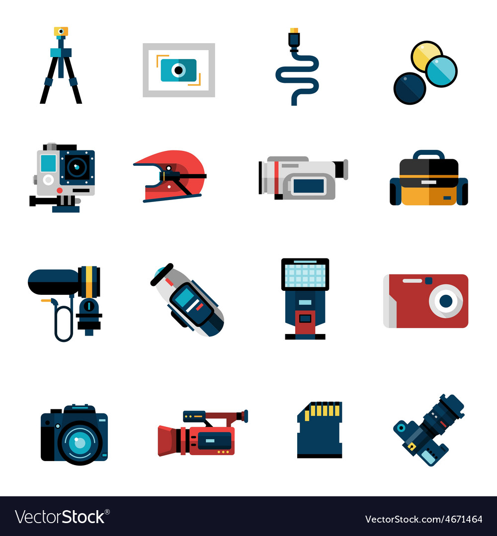 Camera icons set vector | Price: 1 Credit (USD $1)
