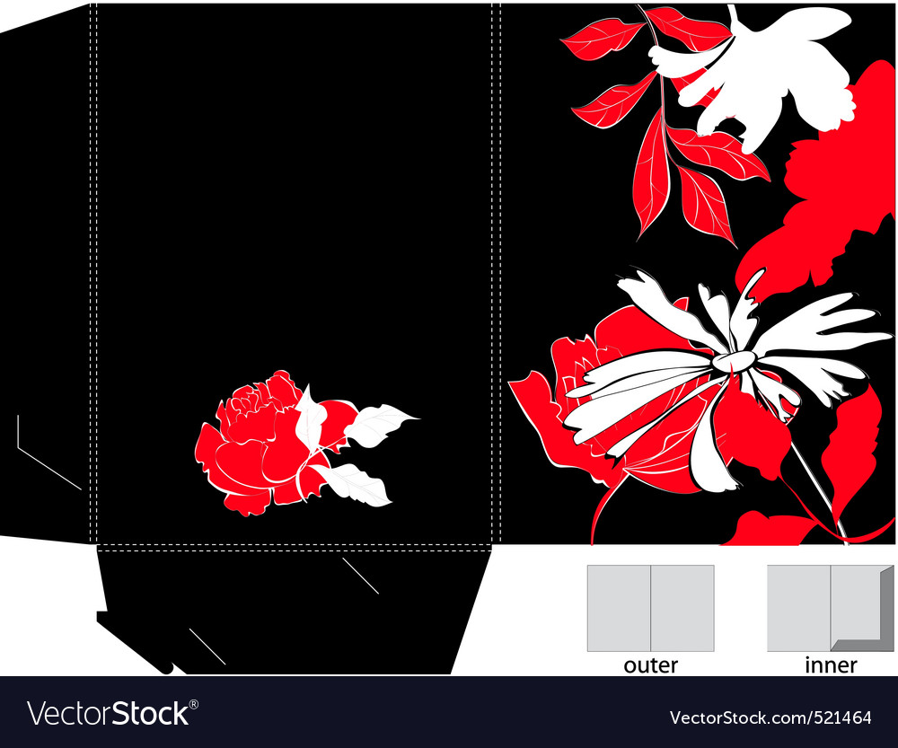 Decorative folder with floral element vector | Price: 1 Credit (USD $1)