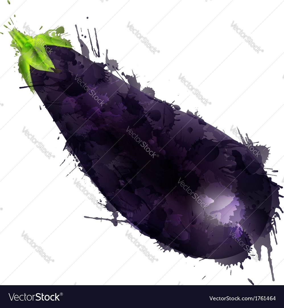 Eggplant made of colorful splashes vector | Price: 1 Credit (USD $1)