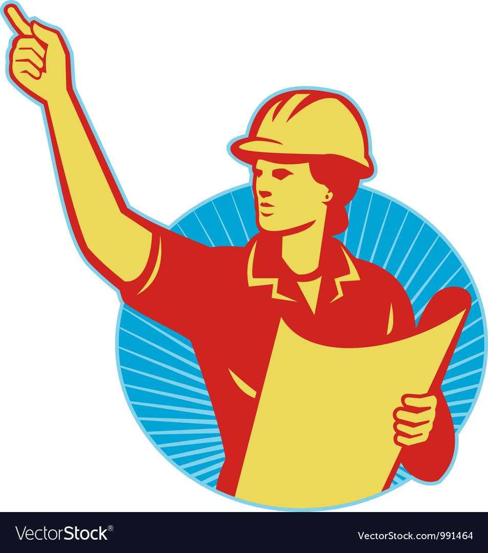 Female engineer construction worker pointing retro vector | Price: 1 Credit (USD $1)