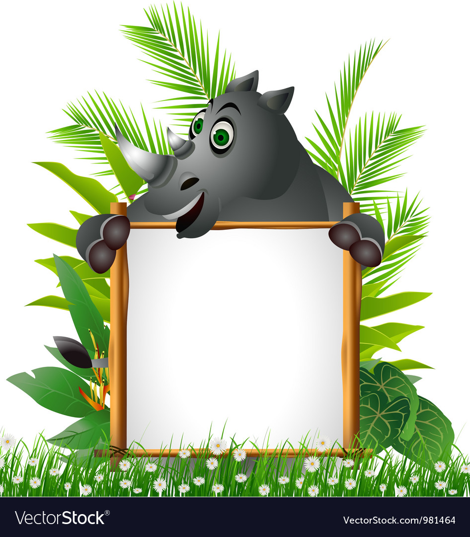 Funny rhino with blank sign vector | Price: 3 Credit (USD $3)