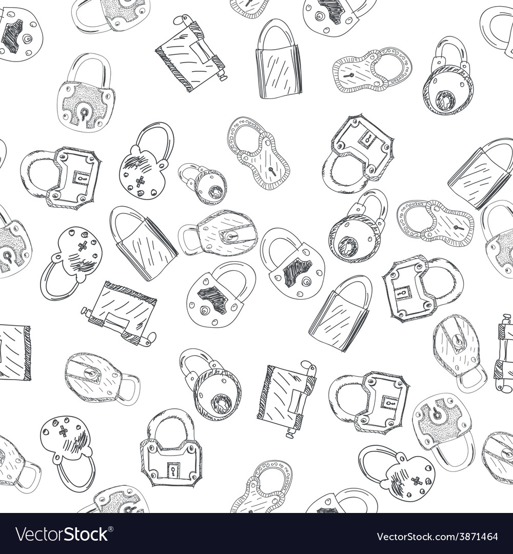 Hand drawn padlocks background seamless pattern vector