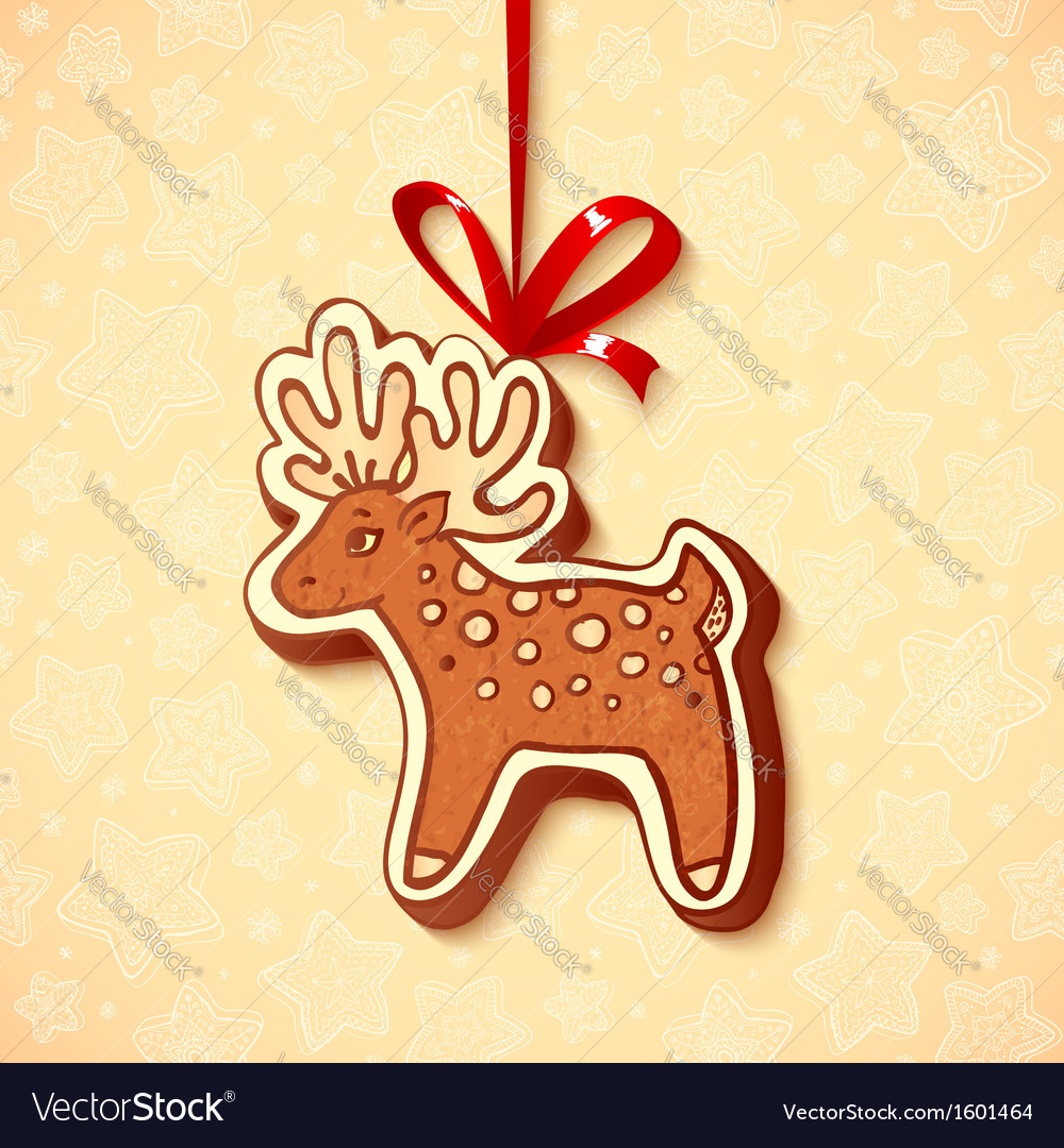 Hand-drawn gingerbread deer with red ribbon vector | Price: 1 Credit (USD $1)
