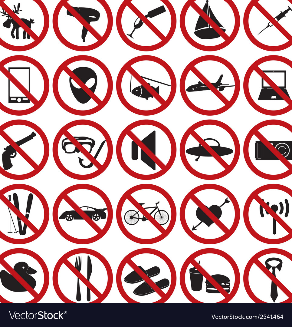 Restriction sign set eps10 vector | Price: 1 Credit (USD $1)