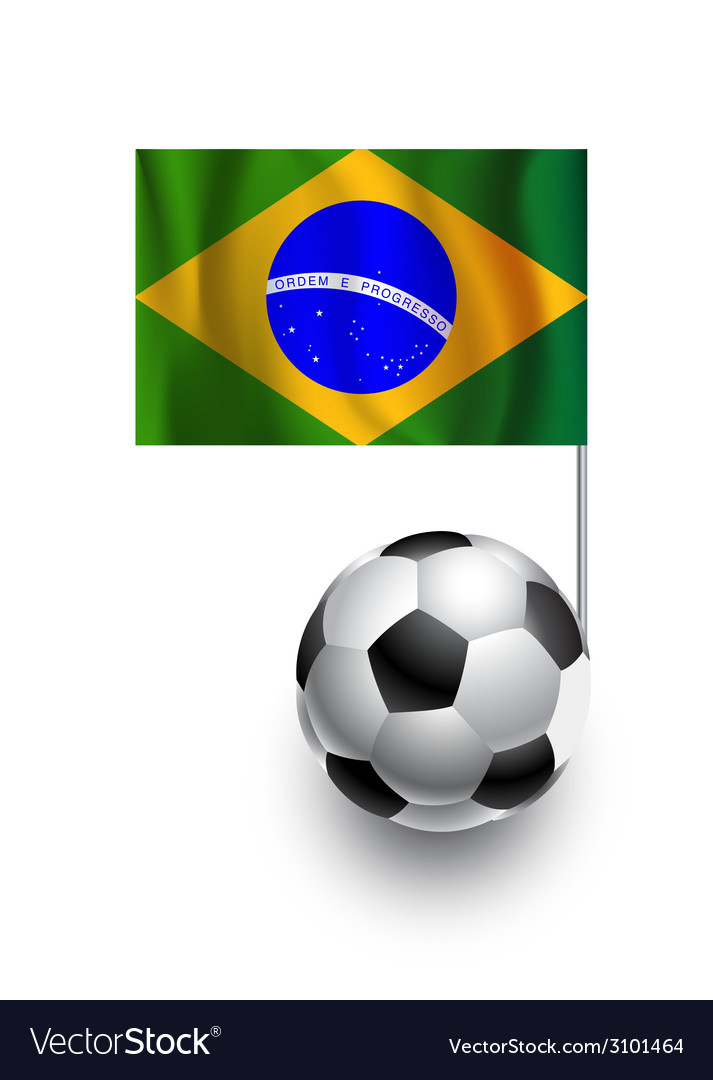 Soccer balls or footballs with flag of brazil vector | Price: 1 Credit (USD $1)