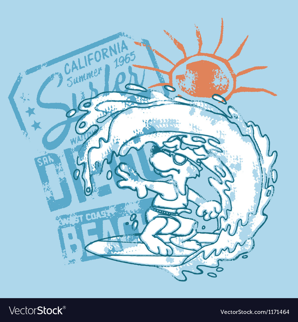 Surfer dog catch the wave vector | Price: 1 Credit (USD $1)