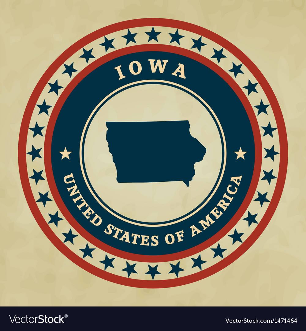Vintage label iowa vector | Price: 1 Credit (USD $1)