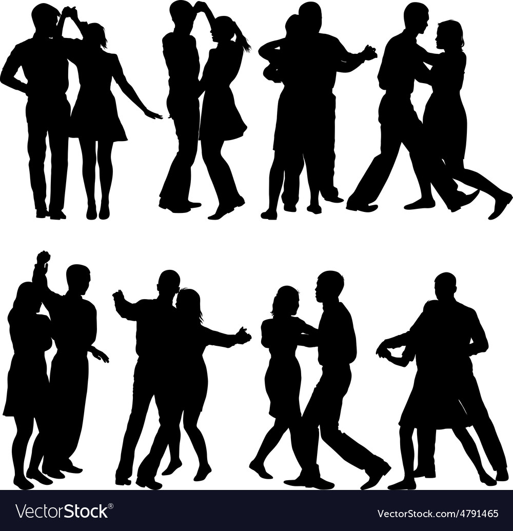 Black silhouettes dancing on white background vector | Price: 1 Credit (USD $1)