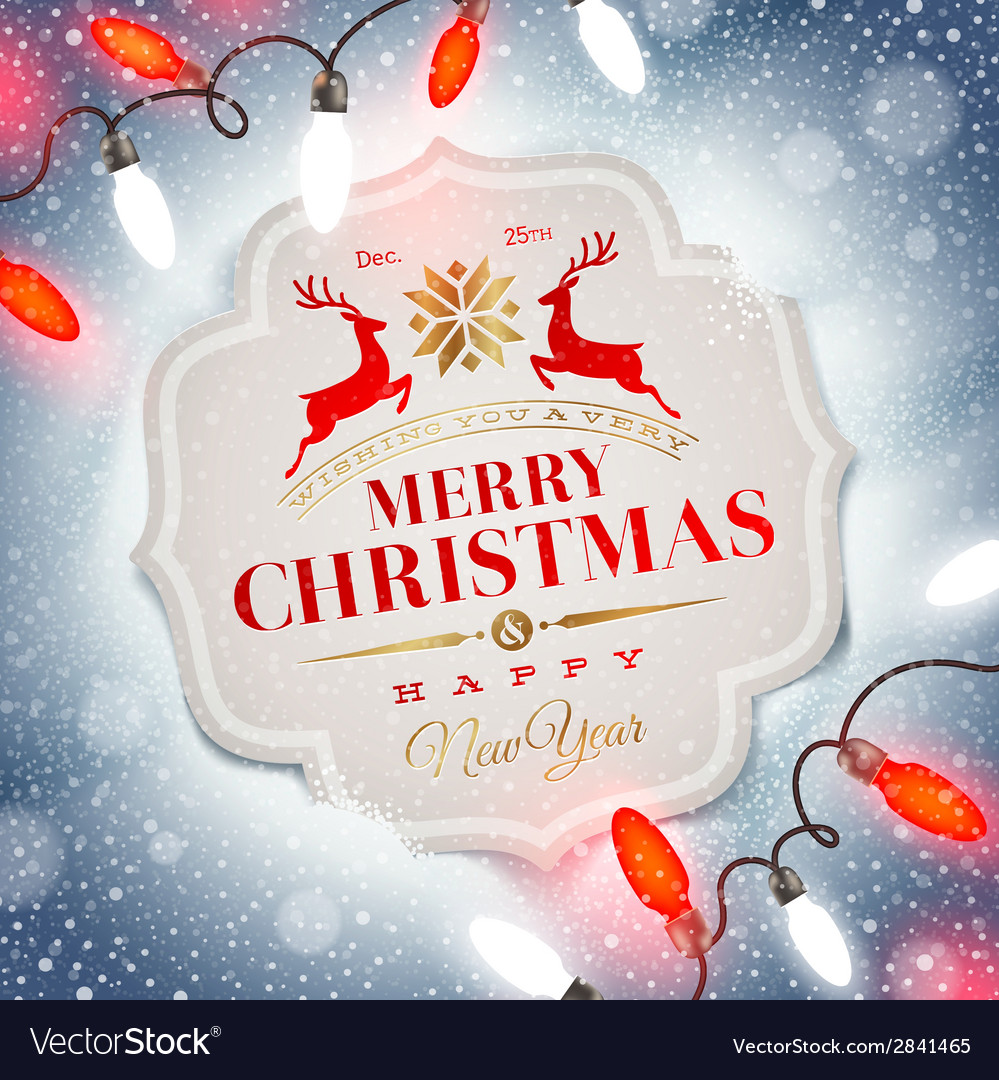 Christmas card with holiday type design vector | Price: 1 Credit (USD $1)