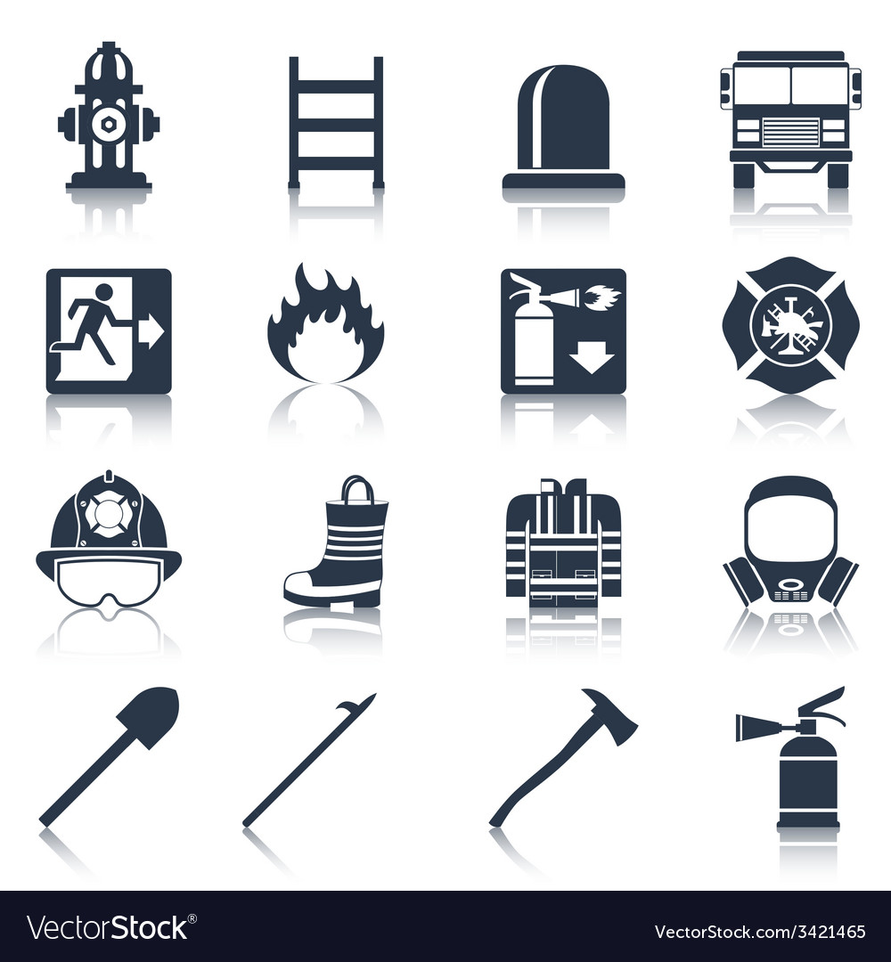 Firefighter icons black vector | Price: 1 Credit (USD $1)