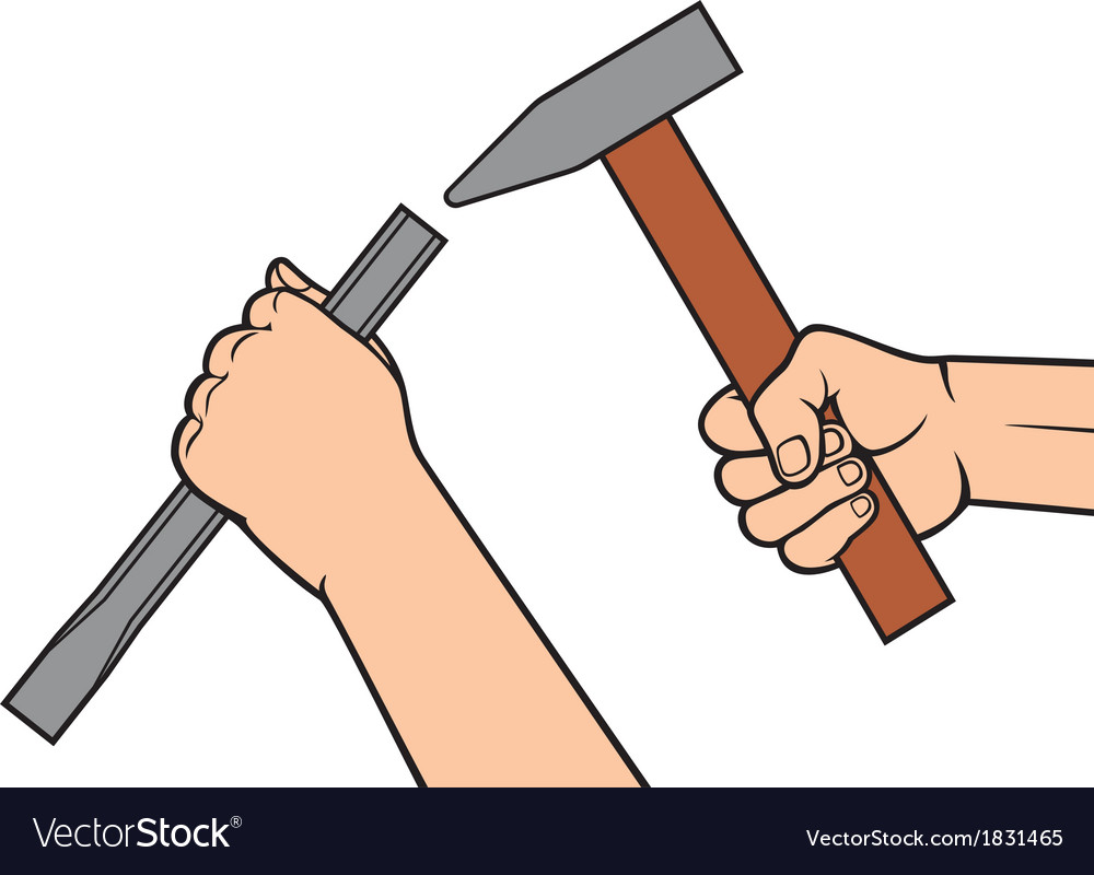 Hands holding a hammer and chisel vector | Price: 1 Credit (USD $1)