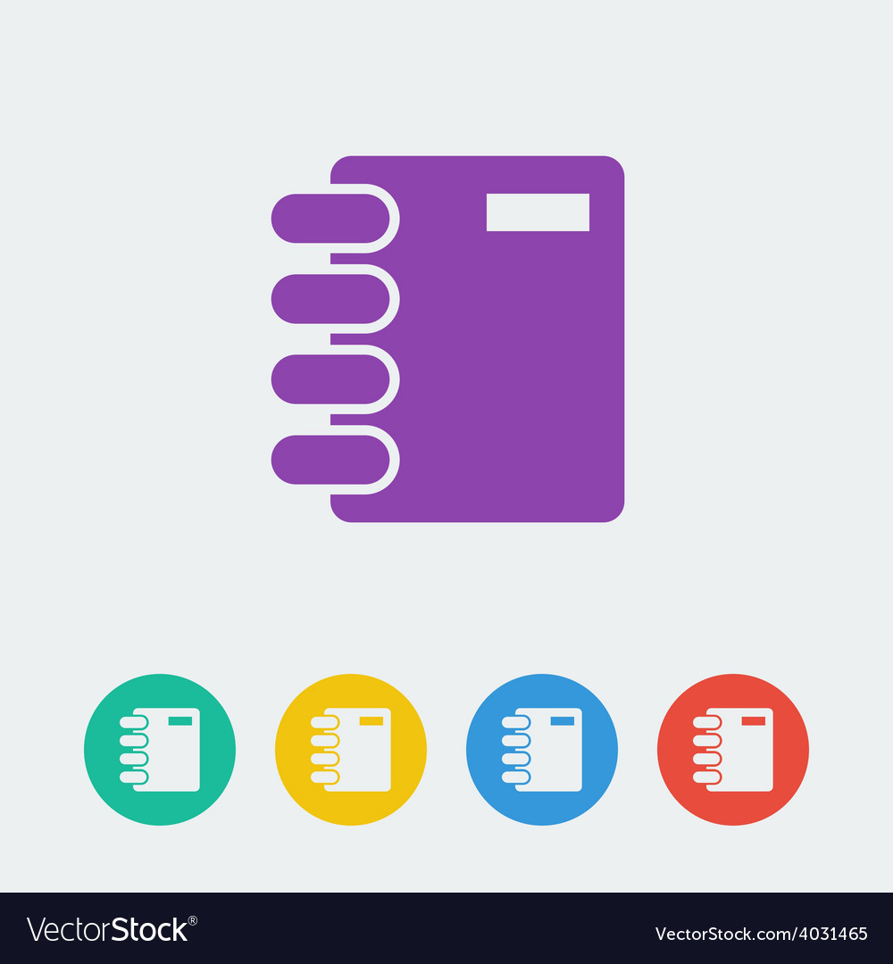 Notebook flat circle icon vector | Price: 1 Credit (USD $1)