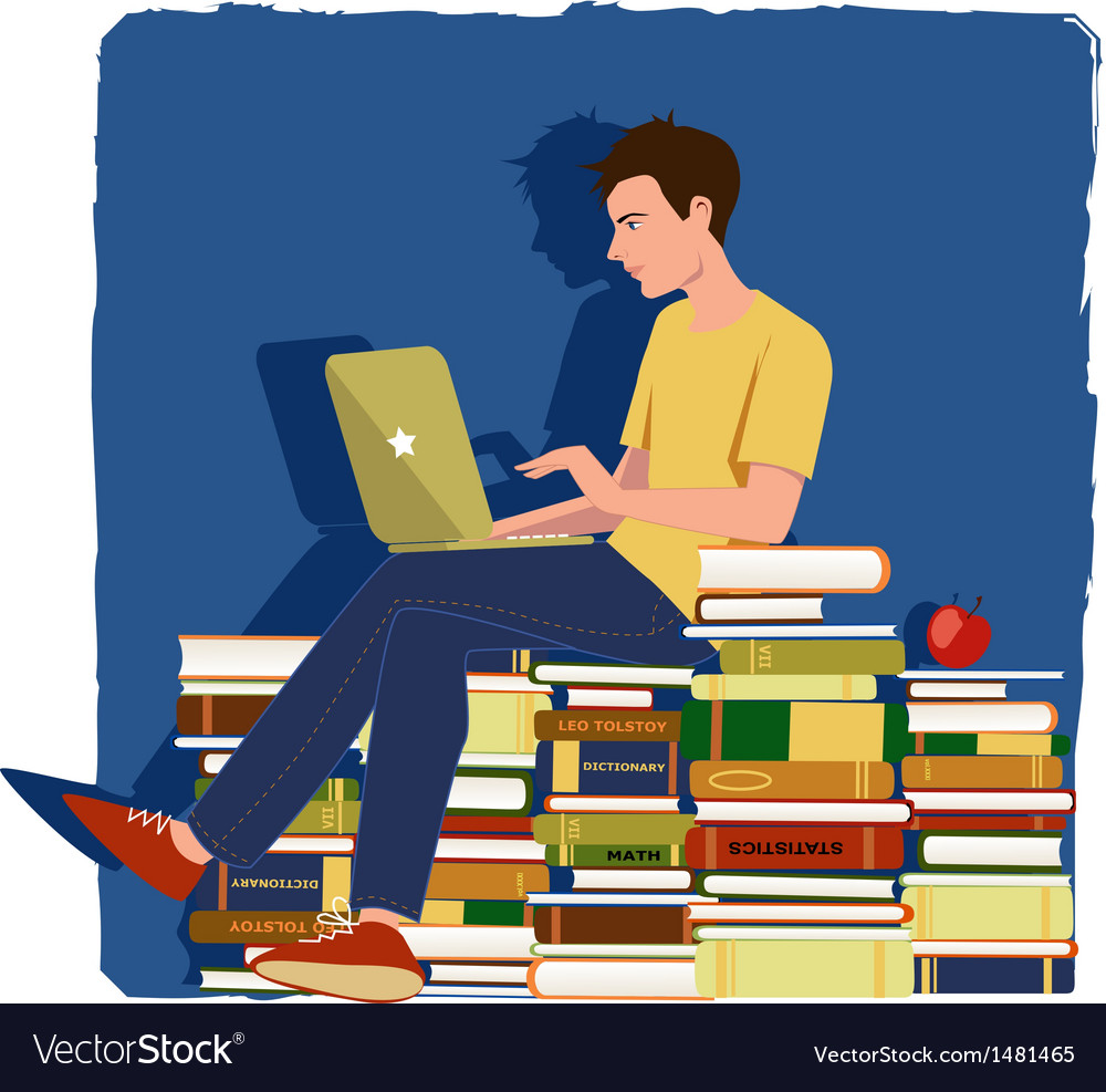 Young man studying vector | Price: 3 Credit (USD $3)