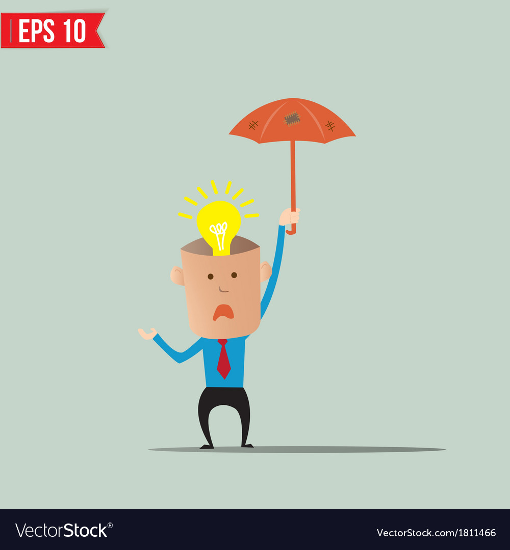 Business cartoon holding umbrella for ind care and vector | Price: 1 Credit (USD $1)